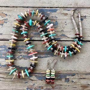Vintage Heishi Turquoise Jasper Shell Necklace